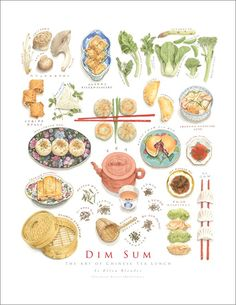 This drawing shows varieties of dim sum. Dim sum plays a very important part in morning tea in Canton. Guangzhou is the best place for you to taste the delicious dim sum. Dim Sum, Watercolor Food, Watercolor Illustration, Watercolor Paintings, Food Sketch, Food Painting, Food Drawing, Kitchen Art, Food Illustrations