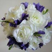 Purple & Ivory Silk Bridal Bouquet