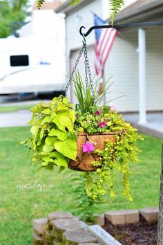 Gardening, landscaping and houseplants {oh my!} are all I can think about come spring. My green-thumb dabblings began with pre-arranged containers that instantly added interest, color and life to our outdoor space. Hanging Plants Outdoor, Plants For Hanging Baskets, Hanging Succulents, Diy Hanging, Hanging Planters, Plants Indoor, Potted Plants, Fall Planters, Patio Plants