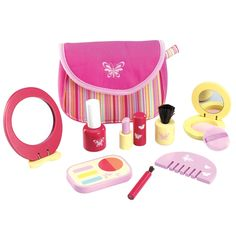 """PINKY COSMETIC SET  WONDERWORLD TOYS  $19 (or less)  What little girl doesn't love to play dress up? She can play pretend supermodel as you watch.  1 cosmetic set  Includes: mirror, pretend face powder, pretend eye shadow, pretend lipstick, pretend nail polish, makeup brushes  Made from eco-friendly rubberwood  10"""" x 7"""" x 2"""""""