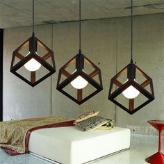 Vintage Retro Pendant Lights LED Pendant Lamp Metal Cube Cage Lampshade Lighting Hanging Light Fixture-in Pendant Lights from Lights & Lighting on Aliexpress.com | Alibaba Group