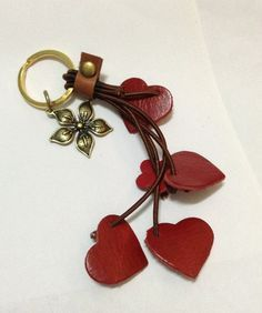Items similar to Red Hearts Genuine Leather Key Chain with Flower Keychain Red leather Hearth key chain Leather key chain Genuine leather Handmade. on Etsy Leather Keyring, Leather Earrings, Leather Jewelry, Leather Art, Leather Gifts, Red Leather, Crea Cuir, Leather Scraps, Leather Flowers