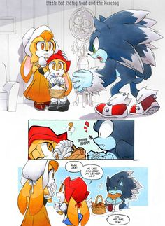 Little Red Riding Hood and the Werehog by FinikArt on DeviantArt Sonic The Hedgehog, Hedgehog Art, Shadow The Hedgehog, Sonic Satam, Sonic Funny, Sonic And Amy, Sonic Adventure, Desenhos Cartoon Network, Character Art