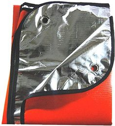 """Extra Thick Double Sided Thermal Reflective Blanket 60"""" x 82"""" & 4 Stakes - Use As a Blanket, Ground Cover or Tarp"""