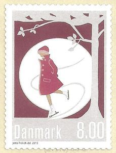 A stamp from Denmark  2013. The stamp is a part of the Danish culture. #7