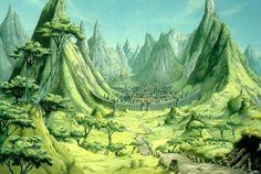 Picture by Rodney Matthews Fantasy Places, Sci Fi Fantasy, Fantasy World, Fantasy Paintings, Fantasy Artwork, Art Science Fiction, Sci Fi Kunst, Fantasy Village, Nostalgia Art