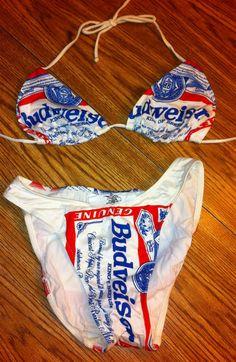 61485e2a1a Budweiser Beer Vintage Beach Bikini Swimsuit Size 7