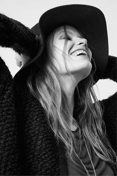 Long black textured cardigan & floppy brimmed hat in premium-quality wool.│ H&M Divided