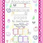 52 Alphabet handwriting practice pages.  There are two pages per letter which contain both capital and lowercase traceable letters as well as space...