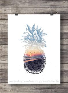 Pineapple Sunset - Aloha tropical island sunset Printable wall art - Hawaii beach sunset - Instant download digital print