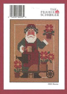 The Prairie Schooler 1993 Gardening Santa Counted Cross Stitch Pattern Chart #ThePrairieSchooler #Picture