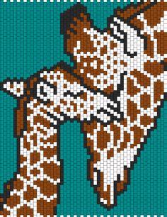 Mom And Baby Giraffe Bead Pattern | Peyote Bead Patterns | Animals Bead Patterns