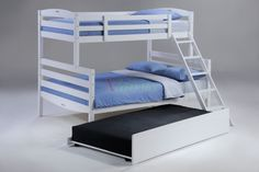 Twin Full White Bunk Bed w Trundle for Sesame Bunk Bed Set | Xiorex The Sesame Bunk Bed is boys and girls and also engineered furniture for economy that are perfect for all child ages including kids, children, youth, and teenagers. Complete your bunk bed with mattresses, optional nightstands, chest, student desk and chair, wooden dresser and mirror, and a trundle bed or under bed drawers…