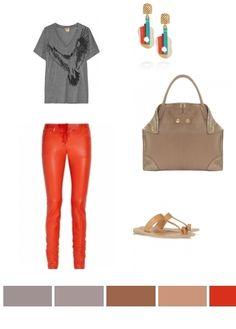 Grey, Red & Beige