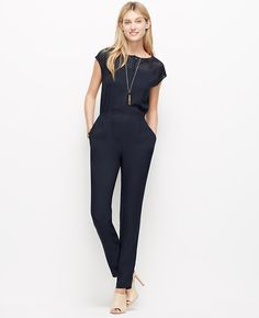 """Topped with a graphic mesh yoke for perforated punch, this one-piece wonder is a cut above the rest. Boatneck. Cap sleeves. Hidden button front. On-seam pockets. Elasticized back waist. 29"""" inseam."""