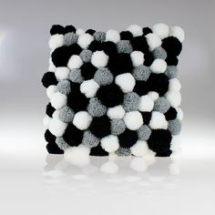 Gorgeous pom pom pillow made in 3 colors: white, gray and black. It is unusual kind of decoration. Due to pom poms, the pillow looks bigger. It is very fluffy and comfortable to touch. Will look great on the couch with a handmade rug from the same collection. You will find it on another listing.  If you wish I can make the rug in all wished colors - just ask for it :)  All pom poms are handmade and sewed to the pillow case. The pillow case is made by me from linen. The pillow is finished…