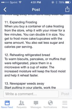 Expanding frosting and Reheating refrigerated breads