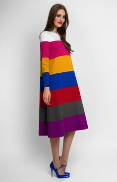 Striped A-shape long-sleeve dress of multi-color knitted fabric. Round neck. Hidden back zip closure. Without pockets and unlined.