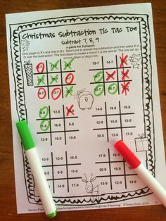 NO PREP math game - Tic Tac Toe + Math + Christmas - Christmas Math Games Second Grade by Games 4 Learning - contains 14 printable games $