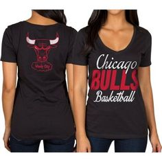 Women's Chicago Bulls Black V-Neck T-Shirt