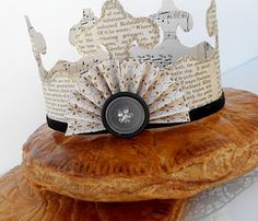 And the Queen should always have such a fitting crown - made from pages of a book with a button embellishment!
