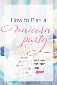 This simple Unicorn Party has details that couldn't be easier to set up yourself. By using items you already have--and adding just a few decorations and paper goods from Amazon Prime--you can create this adorable goodie table! Click for details and free printable tags. #unicornbirthday, #partyfavors, #unicornparty, #kidsbirthday, #birthdayparty