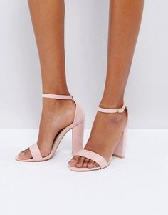 7a534301c5 Glamorous | Glamorous Blush Barely There Block Heeled Sandals #SandalsHeels  Pink Block Heel Sandals,
