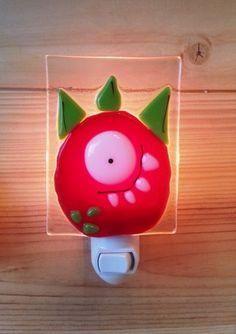 Nightlight, monster, fused glass, red, baby room decoration, nursery, shower gift, kid room, children