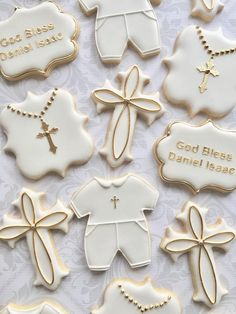 This listing is for one dozen (12) delicious decorated sugar cookies approximately 3-4 4 crosses 2 God Bless 4 christening outfit 2 rosary crosses Please specify gold or silver highlights and cookie color in the notes section of your order. Otherwise cookies will be made as shown.