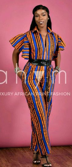 Sugar butterfly Jumpsuit- African print.  Ankara | Dutch wax | Kente | Kitenge | Dashiki | African print bomber jacket | African fashion | Ankara bomber jacket | African prints | Nigerian style | Ghanaian fashion | Senegal fashion | Kenya fashion | Nigerian fashion | Ankara crop top (affiliate)