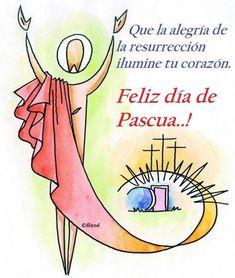 Feliz Domingo de Pascua imágenes lindas - LindasImagenes.net Santa Quotes, Catholic Easter, Jesus Is Risen, Happy Wishes, God Prayer, Some Quotes, Dear God, Happy Thoughts, Holidays And Events