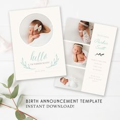 Baby Birth Announcement Template - 5x7 Card - Newborn Announcement - Photoshop Template - INSTANT DOWNLOAD by ByStephanieDesign on Etsy