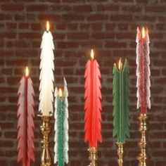 Christmas Candles - Beeswax Christmas Trees - We burn these Frosted and Unfrosted Tree Candles on Christmas Eve & Christmas Day - though they're perfect to have on display all winter long!