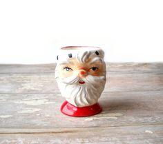 Vintage Lefton Santa Egg Cup Ceramic Red White. $6.00, via Etsy.