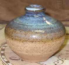 Indigo Blue & Brown Stoneware Flower Budding Vase by brambledragon, $8.00