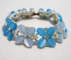 Lisner Blue Lucite Moonglow Flower Bracelet by GretelsTreasures