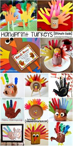 The Ultimate Guide to Handprint Turkey Thanksgiving Crafts for Kids Ready to drown in cuteness? Check out this Ultimate Guide To Turkeys Made From Handprints! TONS of different turkey decorations & keepsakes! Thanksgiving Crafts For Toddlers, Thanksgiving Art, Thanksgiving Crafts For Kids, Thanksgiving Activities, Thanksgiving Decorations, Turkey Decorations, Arts And Crafts For Kids Toddlers, Hosting Thanksgiving, Daycare Crafts