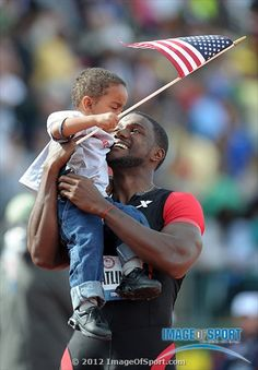 Justin Gatlin takes a victory lap with his son Jace Gatlin after winning the in in the 2012 U. Olympic Team Trials at Hayward Field. Mandatory Credit: Kirby Lee/Image of Sport-US PRESSWIRE USA Justin Gatlin, Go Usa, Olympic Team, Sports Images, 100m, Track And Field, Olympians, Trials, Good People