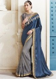 Party Wear Grey Satin  Embroidered Work Saree