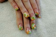 Lime green and orange spring 3D nails