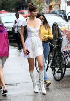 White on: Bella Hadid looked fashion forward in her white dress and matching boots when she stepped out in NYC on Monday Bella Hadid Outfits, Bella Hadid Style, Look Star, Cute Short Dresses, Best Summer Dresses, Dress Summer, Mode Boho, Img Models, Model Look