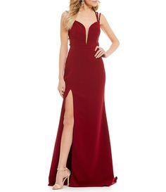 5a50b66e932 Abbi Vonn by La Femme Beaded Strappy-Back Long Dress