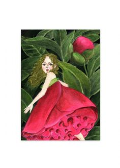 """4x6 print 5x7 art print ACEO of fantasy art """"She Stole A Peony To Wear """" for wall art or deco (34)  $6.00+"""
