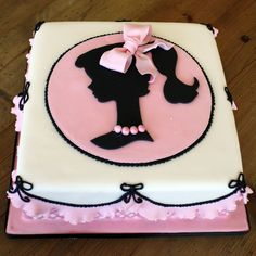 Vintage Barbie Cake-love the silhouette idea-maybe as a birthday cake with the child's silhouette~ As a shower cake, with the bride's silhouette, or as a baby shower cake with a baby or bassinet ~