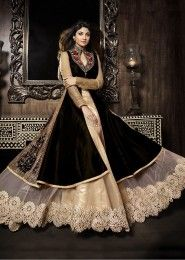 Party Wear Silk Brown Antique Work Gown