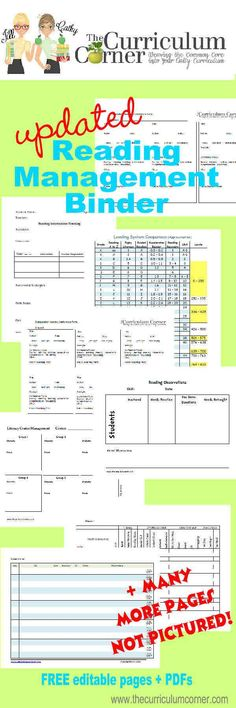 Updated Free Reading Management Binder from The Curriculum Corner - AMAZING reading workshop resource for teachers!