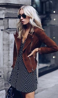A great fall look. Polka dot dresses are trending, as are suede jackets. | 20+ Trending & Affordable Coats, Pants, Jackets, and Scarves for 2018