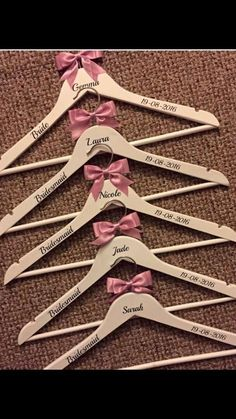 f1ff4d2e4d 5 x Personalised Wooden Bridal Hangers - Bridesmaid Wedding Dress Hangers Gift  in