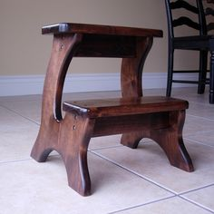 Wooden Step Stool - Alder, Dark Stain, Children's Tip-resistant Handmade…