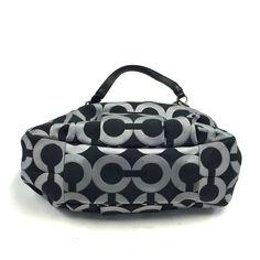 Coach Madison Op Art Black Silver Metallic Outline Maggie Shoulder Bag 18765